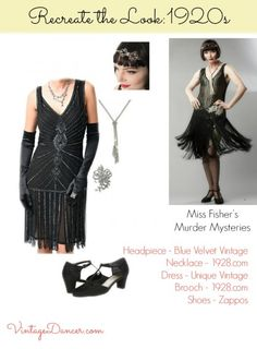 1920s beaded dress worn by Miss Fisher recreated. Get this look at VintageDancer.com/1920s