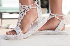 Elaboracion de sandalias en crochet - Imagui