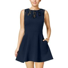 faa71b7da19 Speechless Womens Navy Lace Keyhole Pocketed Party Dress Juniors M BHFO  9233  affilink Fit Flare