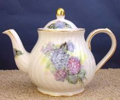 roses-and-teacups.com - 6 Cup Tall Teapot.  Hydrangeas