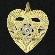 Antique 14K Two Tone Gold Heart Star of David .22ct Old Mine Cut Diamond Pendant