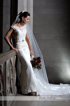 Bridal portrait pose with veil