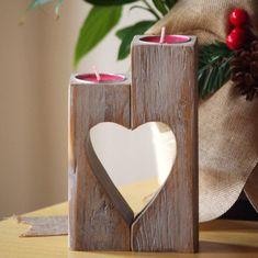 Drewniany Świecznik, rocznik Uchwyt Serce Świeca, babcia dar matki prezent, prezent rocznica, dzień matki, prezent ślubny, wystrój domu