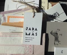 New logo and letterpress tags for NADA MÁS, A line by Rachel Craven and Daphne Belastos. Creative by Britt Browne. Printed Matter, Letterpress, Paper Shopping Bag, Printmaking, Graphic Design, Inspired, Creative, Prints, How To Make