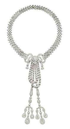 A Belle Epoque diamond lavaliere necklace, by Cartier 1911 Courtesy of Christie's