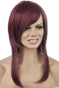 Diy-Wig Purple Medium Length Straight Side Bangs Lolita C… Full Bangs, Side Bangs, Diy Wig, Purple Wig, Lolita Cosplay, Full Hair, Short Wigs, Clip In Hair Extensions, Long Curly