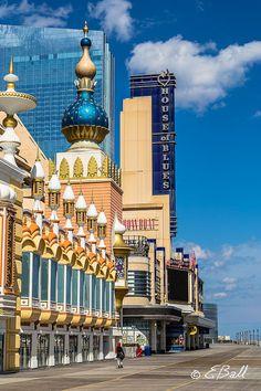 Atlantic City Boardwalk Photo Wall Art Print / AC House of Blues , Showboat Casino , Trump Taj Mahal , Women with Red Scarf Beach
