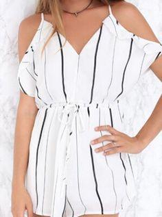 Monochrome Stripe Cold Shoulder Tie Waist Cut Out Back Spaghetti Strap Dress
