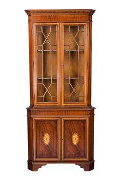 Antique Style English Mahogany Corner Cabinet