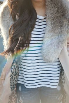 simple holiday style. Fur Collar + Stripes + Trench