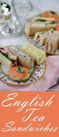 The Best 4 Traditional English Tea Sandwiches Easy Sandwich Recipes, Tea, Afternoon Tea Party Recipes, Comfort Food English Tea Sandwiches, Tee Sandwiches, High Tea Sandwiches, Cucumber Sandwiches, Easy Finger Sandwiches, Bridal Shower Sandwiches, Bridal Shower Appetizers, Sandwiches For Afternoon Tea, Bridal Shower Recipes