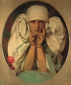 Portrait by Alphonse Mucha of his Daughter, Jaroslava (c.1927-1935) Oil on Canvas.