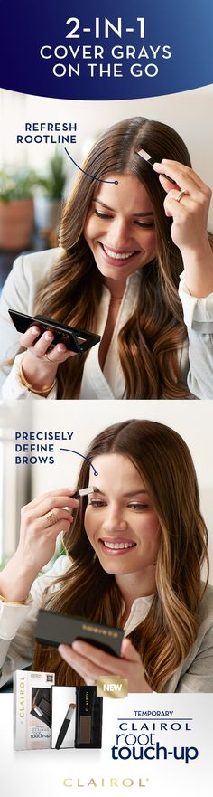 Here's a simple 2-in-1 gray solution: Just press Clairol Root Touch-Up concealing powder onto your hairline to refresh your roots. Or keep your brows in top form with our precision brush and powder. Stash the compact in your purse to touch up anytime, anywhere. Try new Root Touch-Up Temporary Concealing Powder.