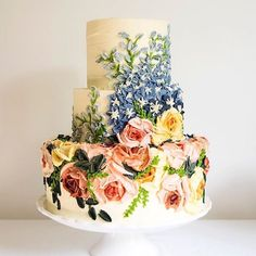 Such a beautiful wedding cake with buttercream roses and delphiniums. My first time doing a detailed version of Paired with roses for something fresh and pretty. Gorgeous Cakes, Pretty Cakes, Amazing Cakes, Painted Cakes, Buttercream Cake, Frosting, Take The Cake, Wedding Cake Inspiration, Floral Cake