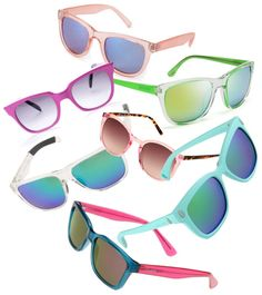Colorful, reflective lenses are huge this season, especially in bright plastic frames.