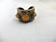 Vintage Bronze Faux Amber stone Ring by ediesbest on Etsy, $9.99