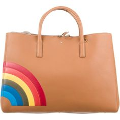 Pre-owned Anya Hindmarch Rainbow Maxi Featherweight Ebury Tote (8.270 DKK) ❤ liked on Polyvore featuring bags, handbags, tote bags, brown, brown tote bags, red tote bag, brown leather handbags, leather handbag tote and handbag tote