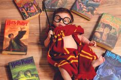 "The rest of the mystical shoot came together with a wand, Gryffindor scarf, and of course her cherished books. | This Baby Had An Adorably Magical ""Harry Potter"" Themed Photoshoot"