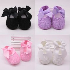 Baby shoes baby girl soft shoes soft comfortable bottom non-slip fashion bow shoes crib shoes 2018 Baby Boy Shoes, Crib Shoes, Toddler Shoes, Girls Shoes, Cute Newborn Baby Girl, Baby Girls, First Walkers, Lace Print, Bow Shoes