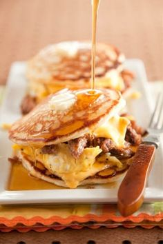 Sausage Pancake Egg Sandwich.  Certainly not healthy but oh my goodness