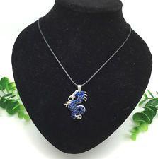 Unique Jewelry - Charm Fashion Jewelry Rhinestone Blue Dragon pendant Black Necklace Cute Gift#3