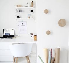 Via My Second Hand Life | White Home Office | Muuto The Dots | Hay About a Chair | Nordic