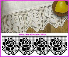 Risultati immagini per miria croches e pinturas Filet Crochet Charts, Crochet Borders, Crochet Flower Patterns, Crochet Motif, Crochet Doilies, Crochet Flowers, Crochet Lace, Crochet Stitches, Crochet Hooks