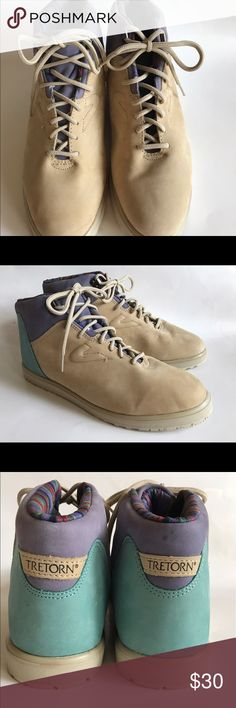 Tretorn Suede Topaz Women's Hiking Boots Size 10B Tretorn Women's Hiking Boots Topaz Eggshell/Turquoise Lavender. Hi top fashion sneakers never worn. Refer to pictures for  small mark. Tretorn Shoes Athletic Shoes