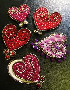 felted wool hearts w/zippers