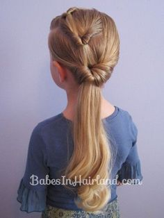 Triple Flipped Ponytail Hairstyle for little girls