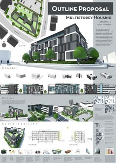 This is the first page from the Outline Proposal for the Sem project. We had to design a energy efficient and affordable multistory building, with Multistorey Housing - Page 1 Architecture Metal, Concept Board Architecture, Architecture Presentation Board, Miami Architecture, Architecture Diagrams, Drawing Architecture, Architectural Presentation, Architectural Models, School Architecture