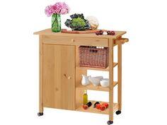 Moderner Küchenwagen in gebeizt geölt.  Auf Rollen.   Mit Ablagefächern, 1 Schubkasten und 1 Tür, dahinter 1 Einlegeboden.  Maße (cm): 80 x 40 x 85