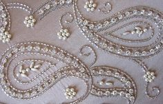 tambour beading - just gorgeous! Pearl Embroidery, Tambour Embroidery, Bead Embroidery Patterns, Embroidery Stitches, Hand Embroidery, Embroidery Designs, Sewing Patterns, Paisley Embroidery, Bordados Tambour