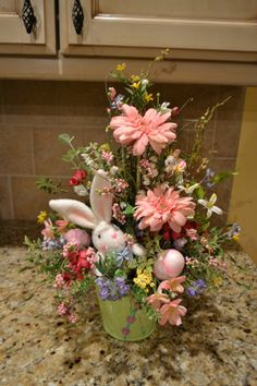 Bunny With Pink Eggs Arrangement by kristenscreations on Etsy