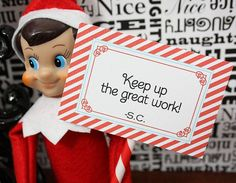 Elf on the Shelf Note Card Set,         Praise nice behavior and warn against naughty with this printable notes