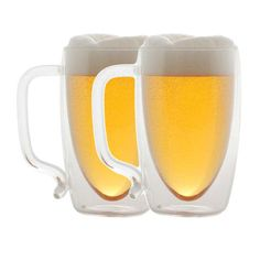 Beer Mug Set Of 2 now featured on Fab. With this set of two beer mugs, you can enjoy your beer just the way you like it: chilled. The double wall glass has an isolation barrier that keeps contents at an optimal room temperature much longer than standard glasses. The beer won't heat up from being held in your hand, letting you take your time enjoying it.