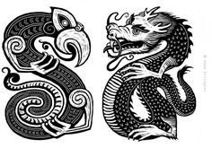 Taniwha illustration. Black and white