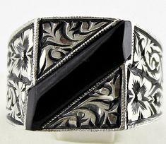 925 sterling silver men's ring, handmade works of art and ethnic design unique design,Oltu natural stone by SILVERforMEN on Etsy https://www.etsy.com/listing/167379772/925-sterling-silver-mens-ring-handmade