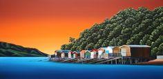 Akaroa boatsheds - Donna Massey  $1400 Long White Cloud, Nz Art, Cloud Art, Clouds, River, Mansions, House Styles, Artwork, Sams