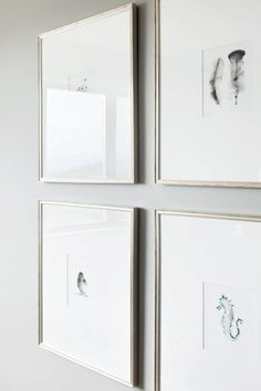 Gray walls + Silver frames w/large gallery mats
