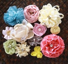 DIY fabric flowers- tutorial for many different shapes.