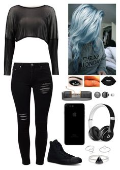See through black by graciem1819 on Polyvore featuring polyvore, fashion, style, Boohoo, Gestuz, Converse, H&M, Bing Bang, Simply Vera, Jordan Askill, Midsummer Star, Beats by Dr. Dre and clothing