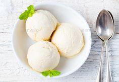 Vanilla Ice Cream in bowl Organic product by annapustynnikova. Vanilla Ice Cream with Mint in bowl Organic product
