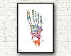 Squelette pied, art médical, os aquarelle, anatomie, décoration cabinet médical, kiné cadeau, médecin décoration [332]