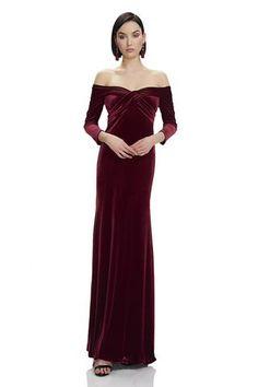1e9f24f4e0f 3 4 Sleeve Velvet Gown -  883880 - 3 4 sleeve