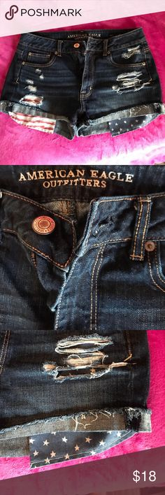 American eagle American flag shorts Super cute no longer fit me! Only worn once! American Eagle Outfitters Shorts Jean Shorts