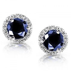 Deep blue sapphire and white diamond halo earrings in white gold.Each sapphire is approximately caratArraySecures with butterfly claspManufactured by Kobelli Complimentary jewelry gift box included. Sapphire And Diamond Earrings, Sapphire Jewelry, Sapphire Earrings, Diamond Studs, Blue Sapphire, Diamond Jewelry, Gold Jewelry, Jewelery, Fine Jewelry