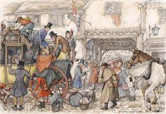 'Engelse koets' - Anton Pieck, 1895-1987. Op de platen van Anton Pieck tref je vele soorten Oud-Hollandse vervoermiddelen aan. Op deze plaat is een postkoets te zien, volgepakt met mensen en bagage. De duurdere dames en heren zitten binnen. (NB. De pub heet 'the red hart'. Dit lijkt me dus een  Engels en geen 'Oud-Hollands vervoermiddel'!)