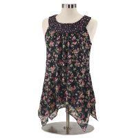 Lace-Print Floral Top