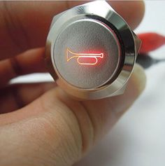 19mm 12V Blue/Red LED Car Auto Momentary Push Button Metal Switch Car Boat Speaker Bell Horn XY01